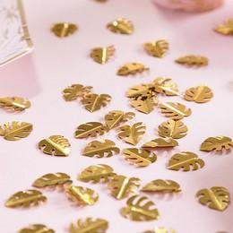 Arany Színű Trópusi Levél Formájú Fényes Konfetti - 15 gramm