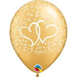 11 inch-es Entwined Hearts Gold Esküvői Lufi (25 db/csomag)