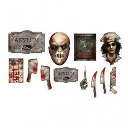 Asylum Véres Halloween Parti Dekoráció, 12 db-os