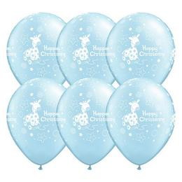 11 inch-es Christening Soft Giraffe Light Blue Lufi Keresztelőre (6 db/csomag)