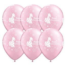 11 inch-es Christening Soft Pony Pink Lufi Keresztelőre (6 db/csomag)