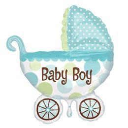 Baby Buggy Boy Super Shape Héliumos Fólia Lufi Babaszületésre