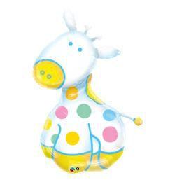 14 inch-es Zsiráfos - Soft Giraffe Fólia Lufi Kisfiú Babaszületésre Pálcán