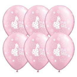 Lufi Babaszületésre - It is A Girl felirattal,Rózsaszín, 28 cm, 25 db