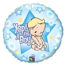 18 inch-es Fiú vagyok - Yep! I am A Boy Baby Héliumos Fólia Lufi Babaszületésre