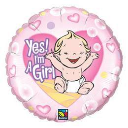 18 inch-es Lány vagyok - Yes! I am A Girl Baby Héliumos Fólia Lufi Babaszületésre