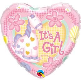 9 inch-es It is A Girl Soft Pony Baby Fólia Lufi Babaszületésre Pálcán