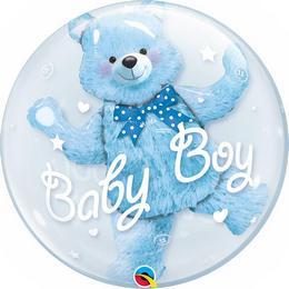 24 inch-es Baby Blue Bear Double Bubble Héliumos Lufi Babaszületésre