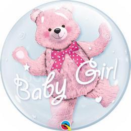 Héliumos Dupla Buborék Lufi Kislány Babaszületésre - Pink Maci, 61 cm