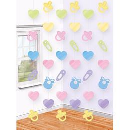 Babaszületésre - Baby Shower Parti Függő Dekoráció - 2 méter, 6 db-os