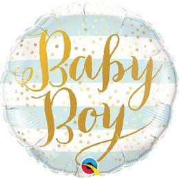 Babaszületésre Kisfiú - Baby Boy Pöttyös Héliumos Fólia Lufi, 46 cm