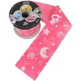 Baby Moon And Stars Pink Dekorációs Szalag Babaszületésre, 12,5 cm, 50 méteres