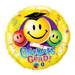 18 inch-es Gratulálunk! - Congrats Grad! Smile Faces Ballagási Héliumos Fólia Lufi