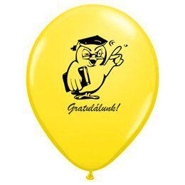 11 inch-es Bagoly Gratulálunk! Yellow Ballagási Lufi (6 db/csomag)