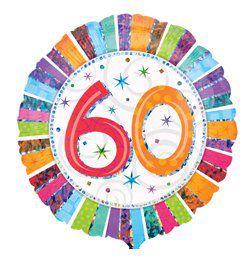 18 inch-es Radiant Birthday 60-as Születésnapi Héliumos Fólia Lufi