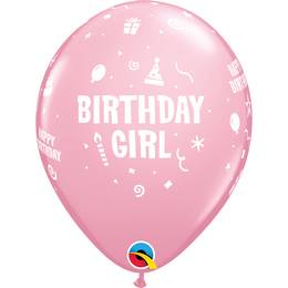 Birthday Girl Pink Szülinapi Lufi, 28 cm, 6 db