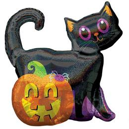 Black Cat & Pumpkin Holografikus Super Shape Fólia Lufi Halloween-re