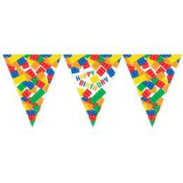 Block Party - Lego Parti Szülinapi Zászlófüzér - 3,7 m