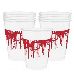 Halloween-ra Véres Mintázatú Műanyag Parti Pohár - 470 ml, 10 db-os