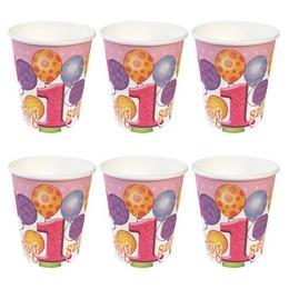 Első Szülinapi Léggömbös Rózsaszín Lányos Parti Pohár - 6 db, 250 ml