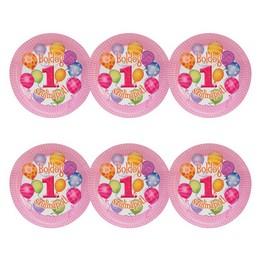 Első Szülinapi Léggömbös Rózsaszín Lányos Parti Tányér - 23 cm, 6 db