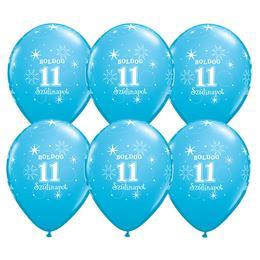 11 inch-es Boldog 11. Szülinapot Feliratú Sparkle Robins Egg Blue Szülinapi Lufi - 6