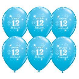 11 inch-es Boldog 12. Szülinapot Feliratú Sparkle Robins Egg Blue Szülinapi Lufi - 6