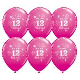 Boldog 12. Szülinapot Feliratú Vadmálna Rózsaszín Lufi, 28 cm, 6 db
