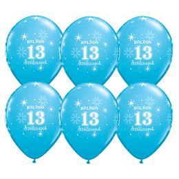 11 inch-es Boldog 13. Szülinapot Feliratú Sparkle Robins Egg Blue Szülinapi Lufi - 6