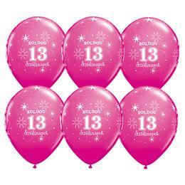 Boldog 13. Szülinapot Feliratú Vadmálna Rózsaszín Lufi, 28 cm, 6 db