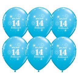 11 inch-es Boldog 14. Szülinapot Feliratú Sparkle Robins Egg Blue Szülinapi Lufi - 25