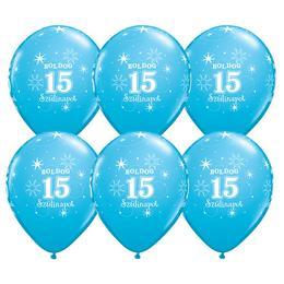 11 inch-es Boldog 15. Szülinapot Feliratú Sparkle Robins Egg Blue Szülinapi Lufi - 6