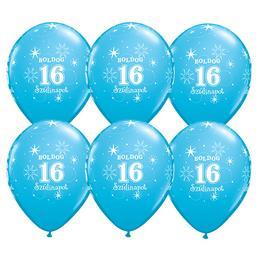 11 inch-es Boldog 16. Szülinapot Feliratú Sparkle Robins Egg Blue Szülinapi Lufi - 6