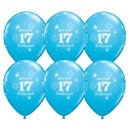 Boldog 17. Szülinapot Feliratú Égszínkék Szülinapi Gumi Lufi, 28 cm