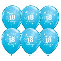 11 inch-es Boldog 18. Szülinapot Feliratú Sparkle Robins Egg Blue Szülinapi Lufi - 6