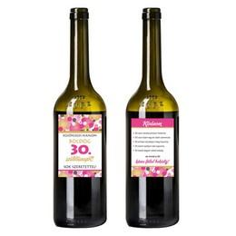 Boldog 30. Születésnapot! Rózsaszín Konfettis Boros Üveg Címke