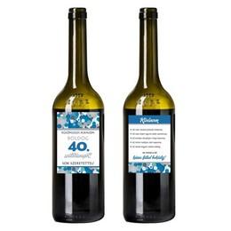 Boldog 40. Születésnapot! Kék Konfettis Boros Üveg Címke
