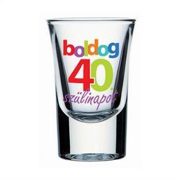 Boldog 40. Szülinapot Feliratú Feles Üvegpohár