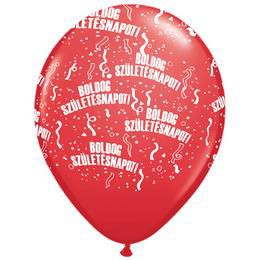 11 inch-es Boldog Születésnapot Red Lufi (6 db/csomag)