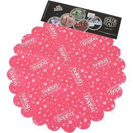 Boldog Szülinapot Feliratú Pink Szülinapi Kerek Dekorációs Textil - 48 cm-es, 24 db-o