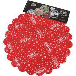 Boldog Szülinapot Feliratú Piros Szülinapi Kerek Dekorációs Textil - 48 cm-es, 24 db-