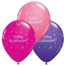 11 inch-es Boldog Születésnapot Shining Star Lufi Lányos Színekben (25 db/csomag)