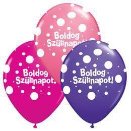 11 inch-es Boldog Szülinapot Big Polka Dots Lufi Lányos Színekben (6 db/csomag)