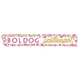 Boldog Szülinapot! Rózsaszín Konfettis Banner
