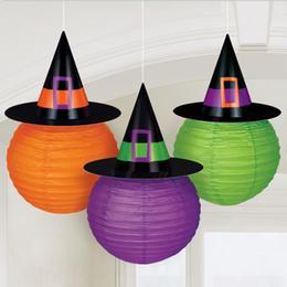 Boszorkány Kalapos Színes Lampion Válogatás Halloween-re - 24 cm, 3 db