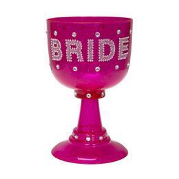 Bride Feliratú Rózsaszín Csillogó Kehely Lánybúcsúra