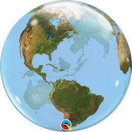 Földgömb Mintás Héliumos Bubble Lufi, 56 cm