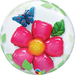 Héliumos Dupla Buborék Lufi - Virág Pillangóval, 61 cm