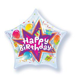 22 inch-es Birthday Party Blast - Csillag Alakú Szülinapi Héliumos Bubble Lufi