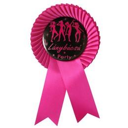 Lánybúcsú Party Ciklámen Szalagos Kitűző Rószaszín-Fekete